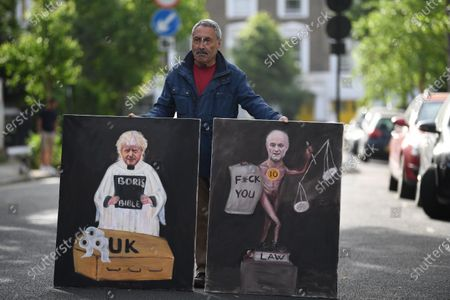 Political Satirist Kaya Mar protests outside the home of Dominic Cummings, Special Advisor to Britain's Prime Minister Boris Johnson, in London, Britain, 28 May 2020. Calls for Cummings's resignation have increased since news broke the Cummings violated lockdown regulations when he and his wife - both suspected of showing Covid-19 symptoms - travelled across the country to self-isolate at a family's property.