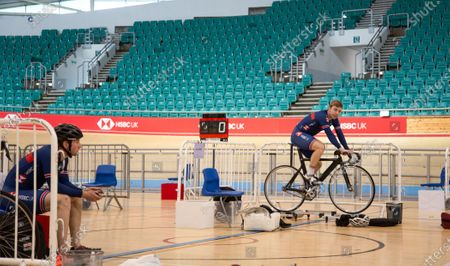 Track sprinters Phil Hindes (R) and Jason Kenny (L) pictured as Great Britain Cycling Team riders are resuming training as facilities at the National Cycling Centre have been adapted to allow social distancing and to mitigate any risk of infection during the coronavirus pandemic.