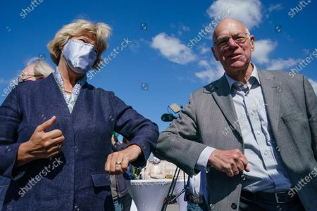Stock Photo of German State Culture Minister Monika Gruetters (L) and former President of the German Bundestag Norbert Lammert touch elbows during a symbolic ground-breaking ceremony for the Freedom and Unity Monument in Berlin, Germany, 28 May 2020. The monument, with a length of 50 meters and and accessible surface of 700 square meters, is scheduled to be completed by the end of 2021.