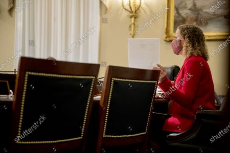 Chairwoman United States Representative Debbie Wasserman Schultz (Democrat of Florida), speaks as US Secretary of Veterans Affairs (VA) Robert Wilkie appears before a US House Appropriations Subcommittee on Military Construction, Veterans Affairs, and Related Agencies hearing on Capitol Hill in Washington,, on the Department of Veterans Affairs response to COVID-19.