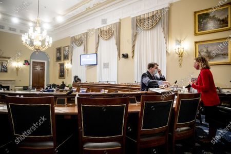 United States Secretary of Veterans Affairs (VA) Robert Wilkie, left, speaks with Chairwoman US Representative Debbie Wasserman Schultz (Democrat of Florida), right, before a US House Appropriations Subcommittee on Military Construction, Veterans Affairs, and Related Agencies hearing on Capitol Hill in Washington,, on the Department of Veterans Affairs response to COVID-19.