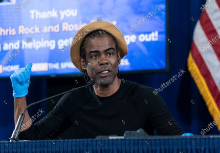 Chris Rock speaks during Governor Cuomo announcement and briefing on COVID-19 response at Madison Square Boys and Girls Club