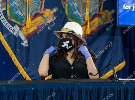 Stock Image of Rosie Perez speaks during Governor Cuomo announcement and briefing on COVID-19 response at Madison Square Boys and Girls Club