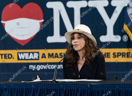 Stock Photo of Rosie Perez speaks during Governor Cuomo announcement and briefing on COVID-19 response at Madison Square Boys and Girls Club