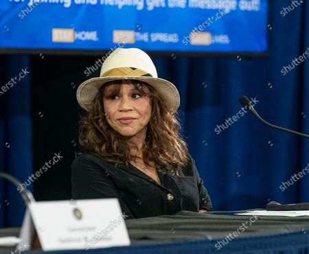 Rosie Perez speaks during Governor Cuomo announcement and briefing on COVID-19 response at Madison Square Boys and Girls Club