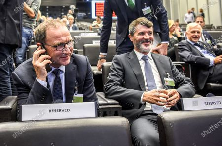 2018 FIFA World Cup Qualification Play-Off Draw, FIFA Headquarters, Zurich, Switzerland 17/10/2017. Ireland Manager Martin O'Neill and Assistant Manager Roy Keane
