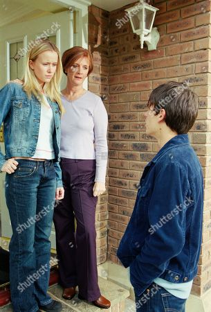 Stock Photo of Ep 3221 Monday 15th July 2002 Andy sets off for Macclesfield to find Katie, who is staying with her mother. His hopes of reconciliation are promptly dashed, as Caroline refuses to let him see her daughter, insisting that Katie never wants to see him again. Andy insists he won't give up as Katie appears at the doorway. With Katie Addyman, as played by Sammy Winward ; Andy Sugden, as played by Kelvin Fletcher ; Caroline Kershaw, as played by Daryl Fishwick.
