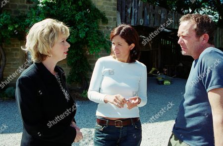 Ep 3232 Tuesday 30th July 2002 Concerned that Mack fancies Angie, Diane pays them a surprise visit only to see Mack harmlessly working outside. She tries to sneak away unseen but her sharp exit is spotted by Mack and is forced to dream up a feeble excuse. Mack is furious and as they exchange words Angie watches on. With Diane Blackstock, as played by Elizabeth Estensen ; Jerry Mackinley, as played by Rob Dixon ; Angie Reynolds, as played by Freya Copeland.