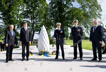 Sverker Goranson, chairman of the Swedish Veterans Association, Andreas Norlen, Speaker of the Parliament, Prince Carl Philip, General Micael Bydén and Peter Hultqvist, Minister for Defence, at Sweden's Veterans Day at the Maritime History Museum in Stockholm