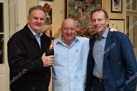 NSW One Nation Member of Parliament (MP) Mark Latham (L) and former prime minister Tony Abbott (R) join Australian radio broadcaster Alan Jones (C) during his final breakfast show for 2GB from his home at Fitzroy Falls in the Southern Highlands, New South Wales, Australia, 29 May 2020. Broadcaster Alan Jones will retire from his radio program on 29 May.