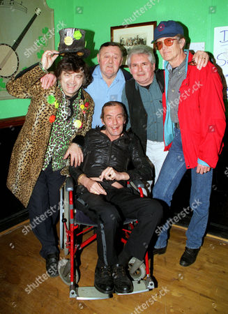 Fifties Rock & Roller Heinz Burt Now Confined To A Wheelchair With Motor Neurone Disease At A Benefit Given In His Honour At The Lord Nelson Pub In Holloway North London. Heinz Burt Now Confined To A Wheelchair With (l-r) Dead 6/99 Screaming Lord David Sutch Wee Willie Harris David Sampson And Terry Dean.