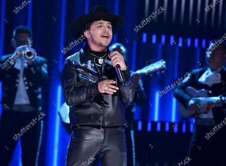 """Christian Nodal performing at the Latin American Music Awards in Los Angeles. Nodal launched his EP """"AYAYAY!"""" on May 29, 2020"""