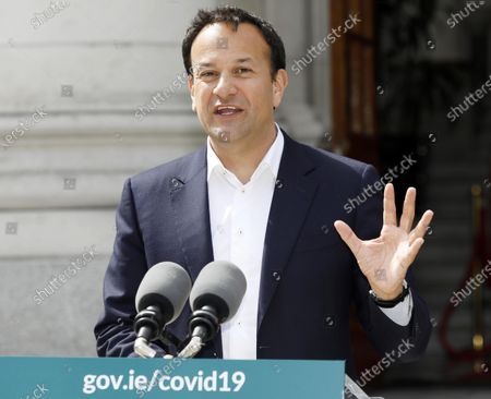 Irish Prime Minister An Taoiseach Leo Varadkar gestures outside Government Buildings in Dublin, Ireland, 29 May 2020, as he briefed media on topics including Brexit and the response to the ongoing pandemic of the COVID-19 disease caused by the SARS-CoV-2 coronavirus following a Cabinet meeting.