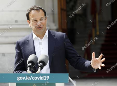 Stock Photo of Irish Prime Minister An Taoiseach Leo Varadkar gestures outside Government Buildings in Dublin, Ireland, 29 May 2020, as he briefed media on topics including Brexit and the response to the ongoing pandemic of the COVID-19 disease caused by the SARS-CoV-2 coronavirus following a Cabinet meeting.