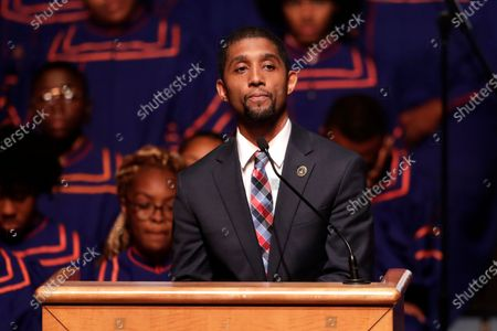 Stock Picture of Baltimore Council President Brandon Scott speaks during a viewing service for the late U.S. Rep. Elijah Cummings at Morgan State University in Baltimore. Scott is running for mayor of Baltimore. Baltimore's primary is