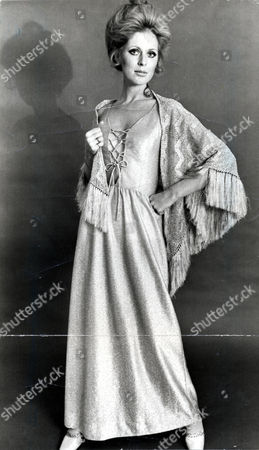 Paulene Stone (pauline Stone) Fashion Model And Former Wife Of Actor Laurence Harvey. Paulene Is Pictured Wearing A Plunging Neckline Dress By Hildebrand With A Fringed Shawl.