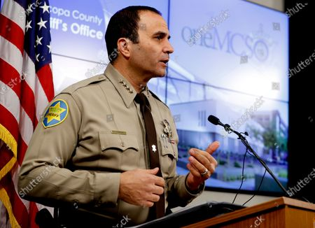 Maricopa County Sheriff Paul Penzone at a news conference in Phoenix. A report on traffic enforcement by sheriff's deputies in metro Phoenix during 2019 has found that stops of Hispanic and black drivers were more likely to last longer and result in searches than those of white drivers. The Maricopa County Sheriff's Office was required to produce the study as one of the remedies to a 2013 ruling that concluded its officers had racially profiled Latinos in then-Sheriff Joe Arpaio's immigration patrols