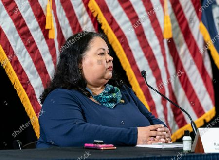 Rossana Rosado Secretary of State attends Governor Andrew Cuomo announcement and media briefing on COVID-19 response and comments on violent protests on George Flyod death in the city at New Settlement Community Center, Bronx