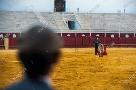 Student of Malaga bullfighting school Manuel Martinez performs with a steer during a masterclass of bullfighting at an empty La Malagueta bull ring as partial lockdown continues in the country amid coronavirus disease.Spanish bullfighter Fernando Rey has given a masterclass with students of the bullfighting school without the presence of spectators as a measure to prevent the spread of coronavirus. This situation shows an empty bullring and being the first bullfighting event in the city since they started the emergency state.