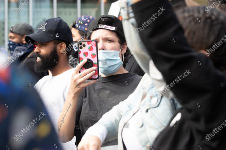 Halsey attends a Black Lives Matter protest in Los Angeles, California