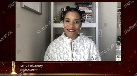 Stock Image of Kelly McCreary presents the award for best drama series during the 40th College Television Awards, presented by the Television Academy Foundation, which was streamed live and held virtually for the first time on