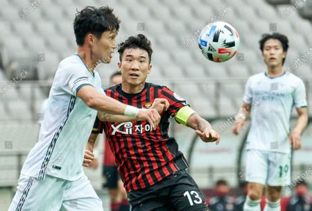 Stock Picture of Go Yo-han of FC Seoul competes for the ball with Kwon Soon-hyung of Seongnam FC during 2020 K League 1 match between Seongnam FC and FC Seoul at the seoul world cup stadium in Seoul, South Korea, on May 31, 2020.