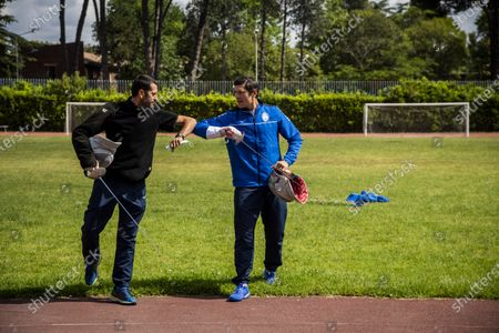 Aldo Montano (R), athlete of national interest, fencer belonging to the Blue Flames Sports Group of the Penitentiary Police, trains with Andra Valentini in the sports center of Casal del Marmo