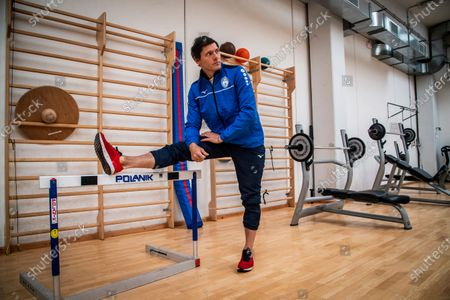 Aldo Montano athlete of national interest, fencer belonging to the Blue Flames Sports Group of the Penitentiary Police, trains with Andra Valentini in the sports center of Casal del Marmo