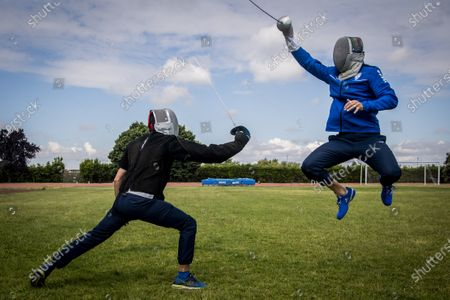 Stock Picture of Aldo Montano (R) athlete of national interest, fencer belonging to the Blue Flames Sports Group of the Penitentiary Police, trains with Andra Valentini in the sports center of Casal del Marmo