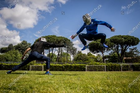 Aldo Montano (R) athlete of national interest, fencer belonging to the Blue Flames Sports Group of the Penitentiary Police, trains with Andra Valentini in the sports center of Casal del Marmo