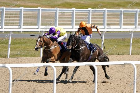 James Sullivan riding Zodiakos (R, orange) win The Betway Welcome Back British Racing Handicap at Newcastle Racecourse on June 01, 2020. (Photo by Alan Crowhurst/Getty Images, supplied by Hugh Routledge in The Racing Photographers' Pool