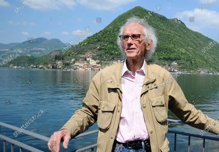 Stock Photo of Christo, Presentation of the new project of the artist Christo and Germano Celant in Sarnico, a walkway that connects the mainland to the island, Brescia