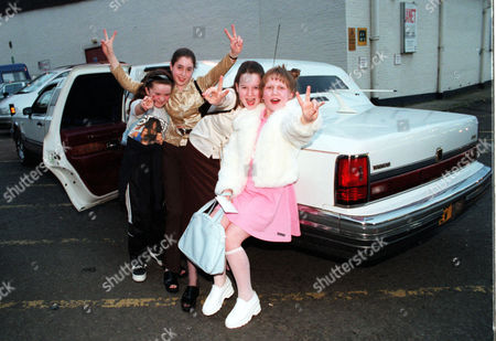 Spice Girls Appear At Wembley On The Same Night As England Play Football Match. Girl Power These Spice Girls Fans Arrive In Style In Limousine From Left To Right; Annie Odonnell (8) Sandra Murphy (13) Jacqueline Murphy (14) And Treasur Barry (10).