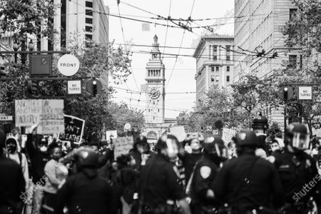 Protestors demonstrate on Market Street in San Francisco, California after the death of George Floyd.