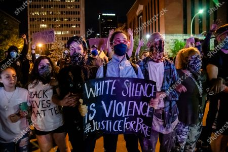 Protestors gather in downtown Louisville in solidarity with Minneapolis following the killing of George Floyd on June, 01, 2020 in Louisville, KY.