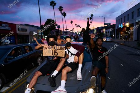 Protests in Hollywood following the death of George Floyd.