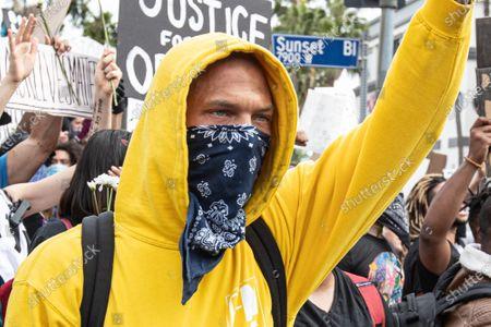 Jeremy Meeks attends a Black Lives Matter protest in West Hollywood