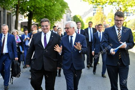 Lithuanian Foreign Minister Linas Linkevicius (L), Polish Foreign Minister Jacek Czaputowicz (C) and Estonian Foreign Affairs Minister Urmas Reinsalu (R) arrive for a meeting which also includes Latvian Foreign Minister Edgars Rinkevics (not pictured) in Tallinn, Estonia, 02 June 2020. The talks focused on cooperation in the Baltic region amid the ongoing pandemic of the COVID-19 disease caused by the SARS-CoV-2 coronavirus.