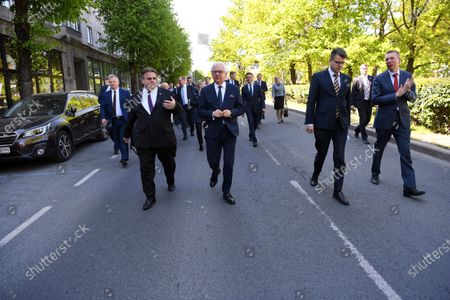 The foreign ministers of Lithuania, Poland, Estonia and Latvia - Linas Linkevicius (L), Jacek Czaputowicz (2-L), Urmas Reinsalu (2-R) and Edgars Rinkevics (R), respectively - arrive for a four-way meeting in Tallinn, Estonia, 02 June 2020. The talks focused on cooperation in the Baltic region amid the ongoing pandemic of the COVID-19 disease caused by the SARS-CoV-2 coronavirus.