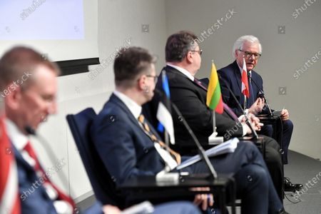 The foreign ministers of Latvia, Estonia, Lithuania and Poland - Edgars Rinkevics (L), Urmas Reinsalu (2-L), Linas Linkevicius (2-R) and Jacek Czaputowicz (R), respectively - hold a four-way meeting in Tallinn, Estonia, 02 June 2020. The talks focused on cooperation in the Baltic region amid the ongoing pandemic of the COVID-19 disease caused by the SARS-CoV-2 coronavirus.