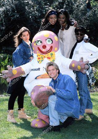 Eternal. Easther Bennett, Vernie Bennett, Kelle Bryan, Louise Nursing and Darren Day with Mr Blobby 1995