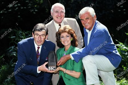 Stock Image of BBC Newsreaders - L -R Richard Whitmore, Gordon Honeycombe, Jan Leeming and Kenneth Kendall 1993