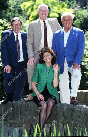 Stock Photo of BBC Newsreaders - L -R Richard Whitmore, Gordon Honeycombe, Jan Leeming and Kenneth Kendall 1993