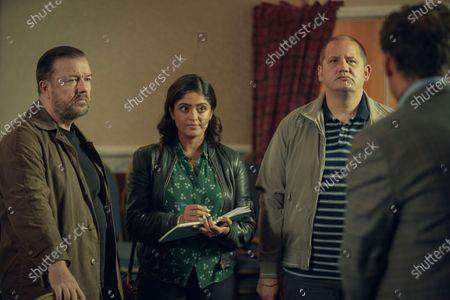 Stock Photo of Ricky Gervais as Tony, Mandeep Dhillon as Sandy and Tony Way as Lenny