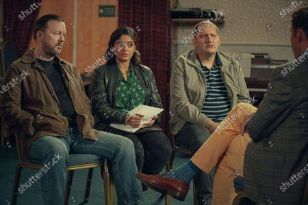 Ricky Gervais as Tony, Mandeep Dhillon as Sandy and Tony Way as Lenny