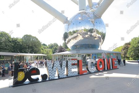 Reopening of the Atomium after the Covid-19 - Coronavirus pandemic lockdown in the presence of Sophie Wilmes,  Princess Astrid and Prince Lorenz
