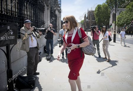 Stock Photo of Deputy Labour Party Leader Angela Rayner MP Is seen arriving at The Houses of Parliament in London ahead of a 90-minute debate on the new voting system and a series of votes this afternoon. Government has introduced further measures to slowly ease lockdown, which was introduced to fight the spread of the COVID-19 strain of coronavirus.