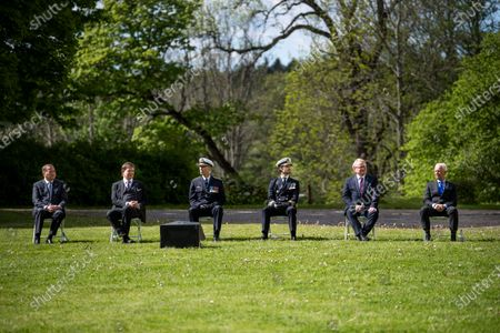 Prime Minister Stefan Lofven, Andreas Norlén, Speaker of the Parliament, General Micael Bydén, Prince Carl Philip, Peter Hultqvist, Minister for Defence and Sverker Goranson, chairman of the Swedish Veterans Association, during Sweden's Veterans Day at the Kungsangen regiment