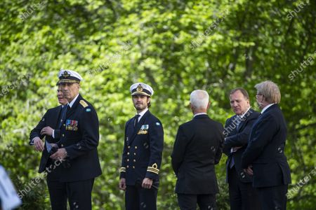 General Micael Bydén, Prince Carl Philip, Sverker Goranson, chairman of the Swedish Veterans Association, Prime Minister Stefan Lofven and Peter Hultqvist, Minister for Defence, during Sweden's Veterans Day at the Kungsangen regiment