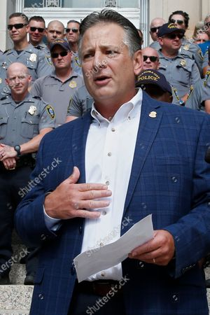 Stock Image of John George, President, Fraternal Order of Police, Oklahoma City, speaks in support of Oklahoma City Police Chief Wade Gourley, in Oklahoma City. The group Black Lives Matter, Oklahoma City, has called for the resignation of Gourley